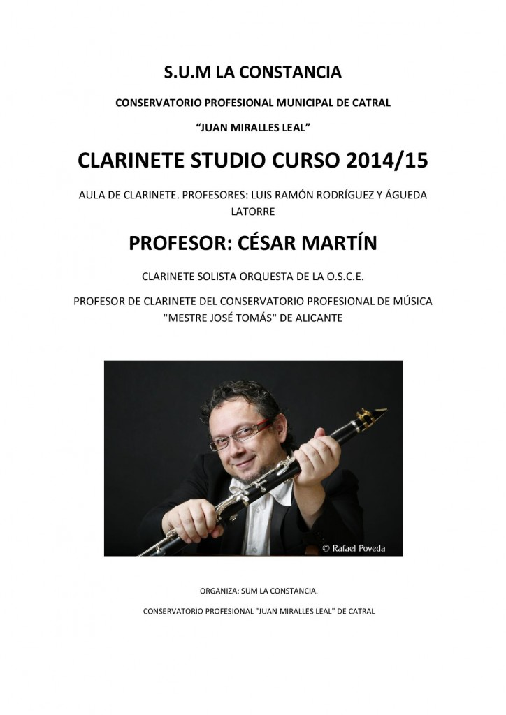 Cartel clarinete studio